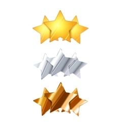 Golden silver and bronze three glossy rating vector image vector image