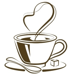 Hot coffee cup with piece of sugar vector image vector image