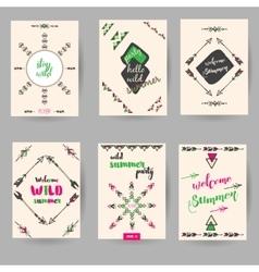 set of decorative hand drawn boho cards vector image vector image