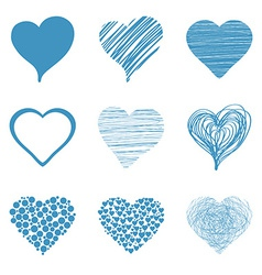 Set of hand drawn sketch hearts for Valentines Day vector image vector image