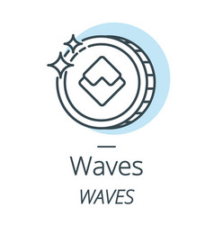 waves cryptocurrency coin line icon of virtual vector image