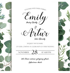 wedding floral hand drawn invite invitation card vector image