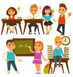 children in school study at lessons flat vector image vector image
