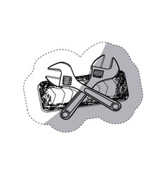 figure caution ribbon with wrench emblem vector image