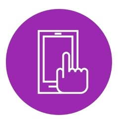 Finger pointing at smart phone line icon vector