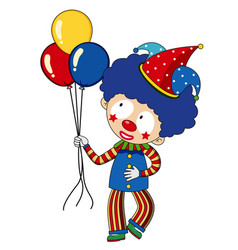 happy clown with colorful balloons vector image vector image