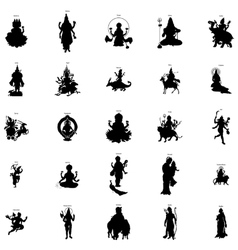 Indian gods silhouette set simple style vector image vector image