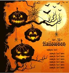 Orange grungy halloween background with pumpkins vector image