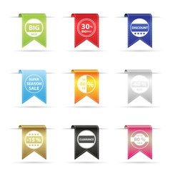 various color shiny curved hanging ribbon banner vector image