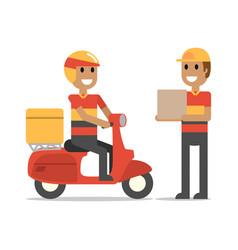 happy delivery man on duty vector image vector image