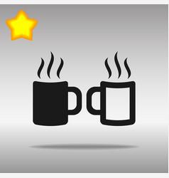 two coffee cup black icon button logo symbol vector image