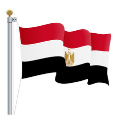 waving egypt flag isolated on a white background vector image vector image