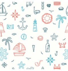 Cute hand drawn seamless pattern with nautical vector image vector image