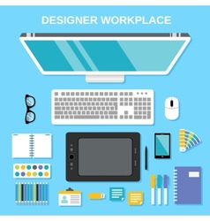 Designer workplace top view vector image