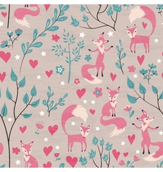 Foxes in love forest vector