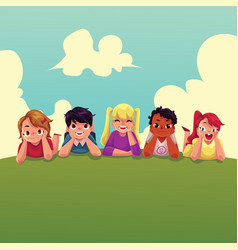 group of happy children lying on green grass vector image