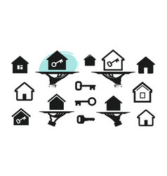 house home set icons building real estate key vector image