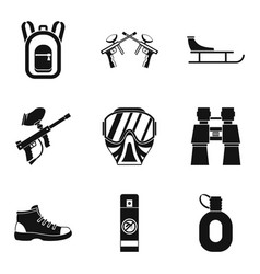 Paintball gun icons set simple style vector