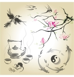 Set in a Japanese style of sumi-e vector image
