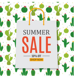 Abstract summer sale background with shopping bag vector