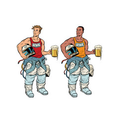african and caucasian cosmonaut with a beer vector image