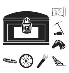 Attributes of the wild west black icons in set vector