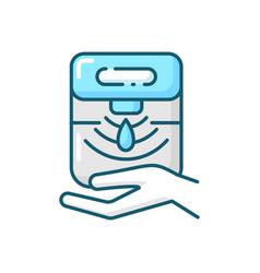 Automatic hand sanitizer dispenser blue rgb color vector