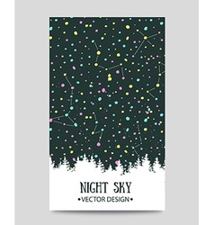 Background with night sky stars and forest hand vector image