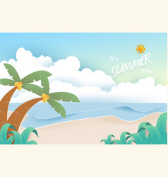 Beach and sea background summer background concept vector