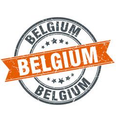 Belgium red round grunge vintage ribbon stamp vector