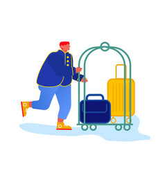 Bellhop bellboy or bellman pushing luggage cart vector