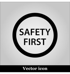 Black round safety first icon on grey background vector image vector image