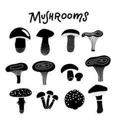 black silhouette forest mushrooms decorative vector image