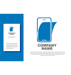 Blue glass screen protector for smartphone icon vector
