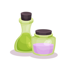 bottles of oils cosmetic perfumery and medical vector image