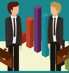 Businessmen with briefcases and statistics chart vector