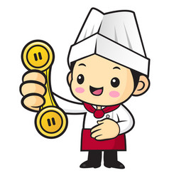 Cartoon cook character please call me isolated on vector