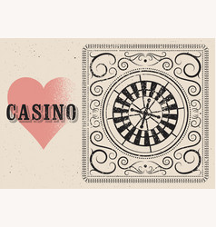 casino typographical vintage grunge style poster vector image