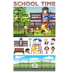 Children doing activities at school vector image