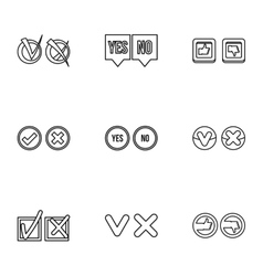 Choice icons set outline style vector