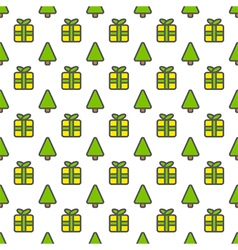 Christmas outline seamless pattern background vector