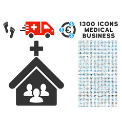 Church people icon with 1300 medical business vector
