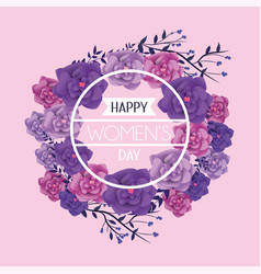 circle frame with roses to womens day vector image