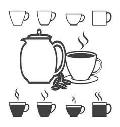 coffee cup icon set vector image