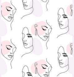 continuous one line woman face portrait seamless vector image