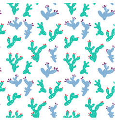 Cute prickly pear cactus pattern hand drawn vector