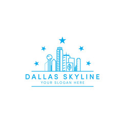 Dallas skyline logo designs with stars and line vector