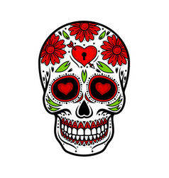 Day of the dead skull skull sugar flower vector