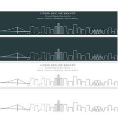 detroit single line skyline banner vector image