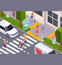 disabled people isometric composition vector image